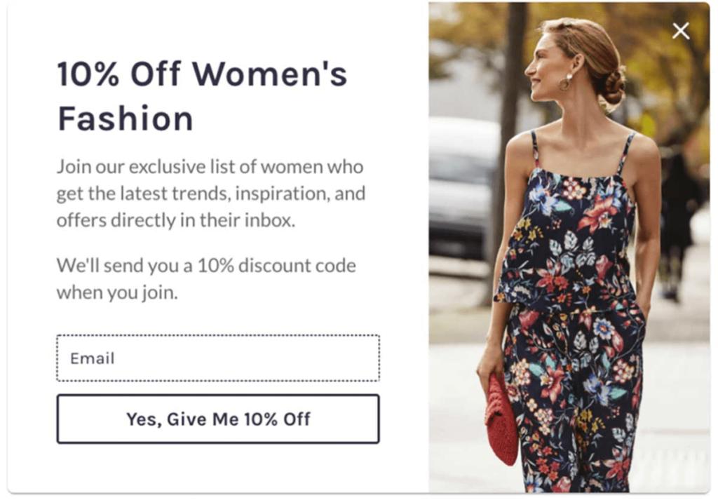 Kvindemode, push, marketing, pop-up